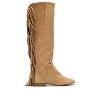 Zara Woman Knee High Suede Fringe Brown Boots